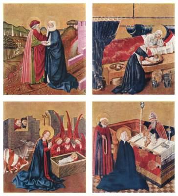 Albrechtsaltar, linker Drehflügel, Innenseite: 4 Tafeln zum Marienleben Stiftsmuseum