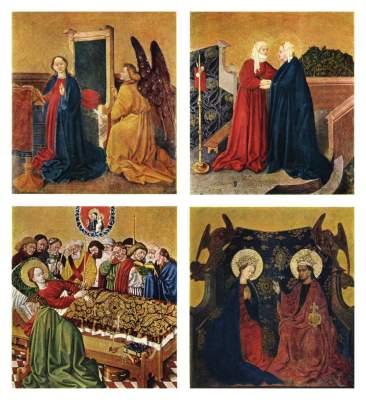 Albrechtsaltar, rechter Drehflügel, Innenseite: 4 Tafeln zum Marienleben Stiftsmuseum