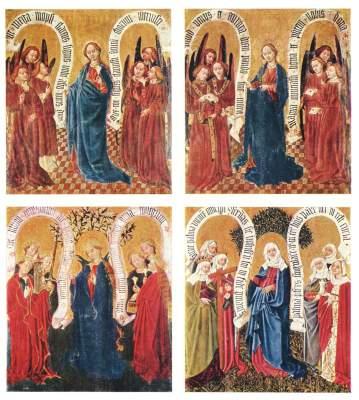 Albrechtsaltar, rechter Standflügel: 4 Tafeln zur Lauretanischen Litanei Stiftsmuseum