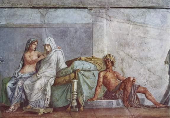 Aldobrandinischen Hochzeit, Ausschnitt: Aphrodite, Braut und Dionysos Vatikan, Musei Vaticani