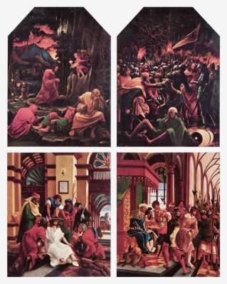 Sebastiansaltar: Gefangennahme Christi,  Christus am Ölberg,  Handwaschung Pilati,  Dornenkrönung Augustiner Chorherrenstift
