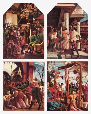 Sebastiansaltar: Kreuzigung Christi,  Kreuztragung,  Geißelung Christi,  Christus vor Kaiphas Augustiner Chorherrenstift