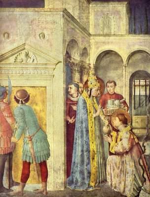 Papst Sixtus II. übergibt dem hl. Laurentius den Kirchenschatz (Ausschnitt) Vatikan, Musei Vaticani, Cappella Niccolina