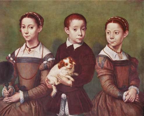 Drei Kinder mit Hund Slg. Lord Methuen