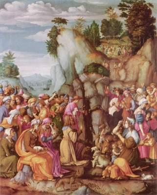Moses schlägt Wasser aus dem Felsen National Gallery of Scotland
