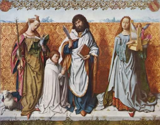 Bartholomäusaltar, Mitteltafel: Der Hl. Bartholomäus mit dem Stifter zwischen den Heiligen Agnes und Cäcilia Alte Pinakothek