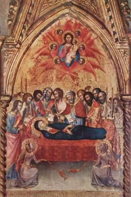 Triptychon aus der Cappella delle Carceri in S. Francesco zu Montalcino, rechter Flügel: Abschied Mariä von den Aposteln und Tod Mariä Pinacoteca Nazionale