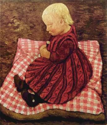 Bauernkind auf rotgewürfeltem Kissen Slg. Ludwig Roselius