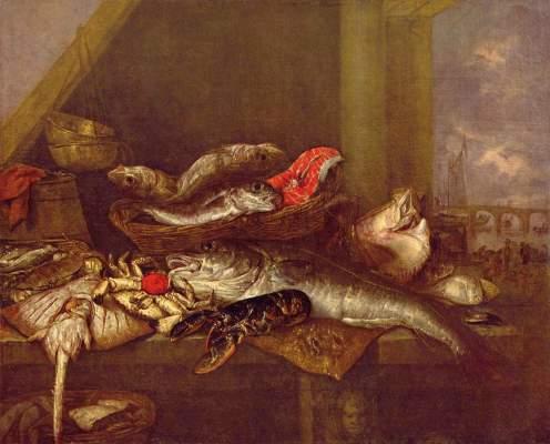 Eine Fischbank Gemäldegalerie
