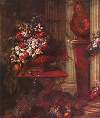 Vase mit Blumen und Bronzebüste Ludwigs XIV. Musée National du Louvre