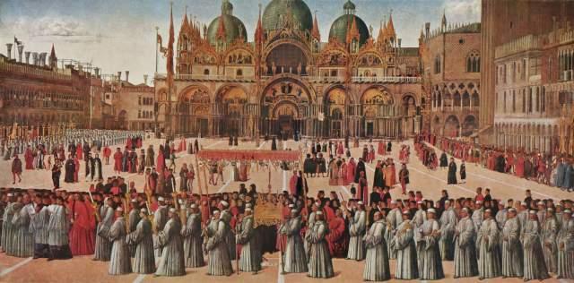 Prozession auf der Piazza S. Marco Gallerie dell'Accademia
