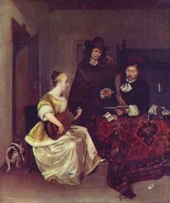 Junge Frau, zwei Männer auf der Theorbe vorspielend National Gallery