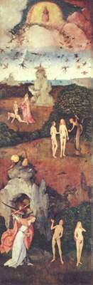 Heuwagen-Triptychon, linker Flügel: Das irdische Paradies Museo del Prado