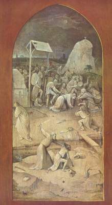 Versuchung des Hl. Antonius, Rückseite des linken Flügels: Gefangennahme Christi Museu Nacional de Arte Antiga