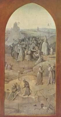 Versuchung des Hl. Antonius, Rückseite des rechten Flügels: Die Kreuztragung Museu Nacional de Arte Antiga