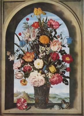 Blumenvase in einer Fensternische Königliche Gemäldegalerie Mauritshuis