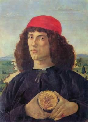 Unbekannter Mann mit der Medaille Cosimos d. Ä. Galleria degli Uffizi
