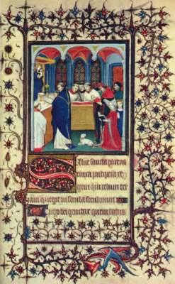 Pariser Stundenbuch, Ausschnitt: Dame während der Messe Bibliothčque Nationale