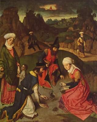 Altar des Letzten Abendmahls: Die Mannaernte St. Peter
