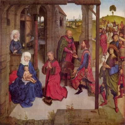 Flügelaltar Die Perle von Brabant, Mitteltafel: Anbetung der Könige Alte Pinakothek