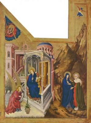 Altar für Philipp den Kühnen, Herzog von  Burgund, linker Flügel: Verkündigung und Heimsuchung Musée des Beaux-Arts