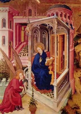 Altar für Philipp den Kühnen, Herzog von  Burgund, linker Flügel: Verkündigung und Heimsuchung (Ausschnitt) Musée des Beaux-Arts