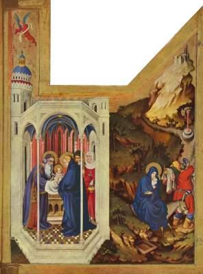 Altar für Philipp den Kühnen, Herzog von  Burgund, rechter Flügel: Die Darstellung im Tempel und die Flucht nach Ägypten Musée des Beaux-Arts
