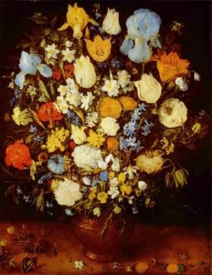 Kleiner Blumenstrauß in einem Tongefäß Kunsthistorisches Museum