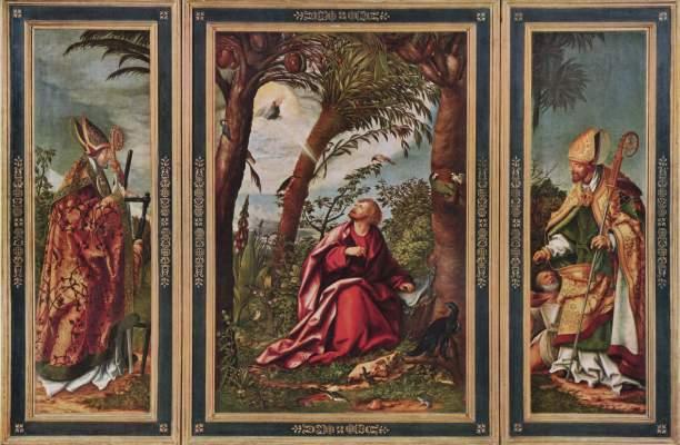 Johannesaltar, linker Flügel: Hl. Erasmus, Mitteltafel: Johannes auf Patmos, rechter Flügel: Hl. Nikolaus Alte Pinakothek
