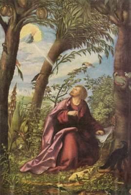 Johannesaltar, Mitteltafel: Johannes auf Patmos Alte Pinakothek