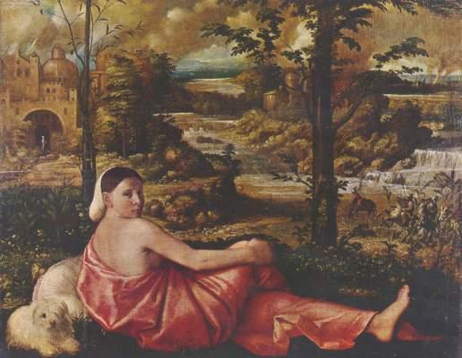 Ruhende Frau mit weißem Schoßhund in einer Landschaft Gemäldegalerie