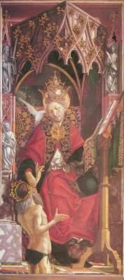 Kirchenväteraltar, Mitteltafel rechts: Hl. Gregorius Alte Pinakothek