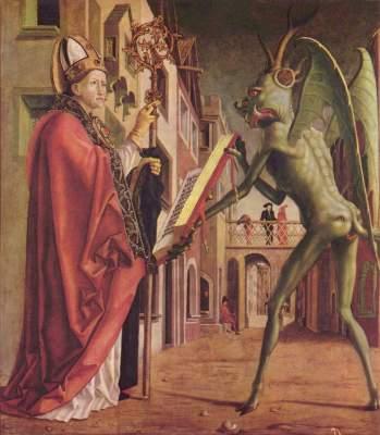 Kirchenväteraltar, rechter Flügel außen unten: Hl. Wolfgang und der Teufel Alte Pinakothek