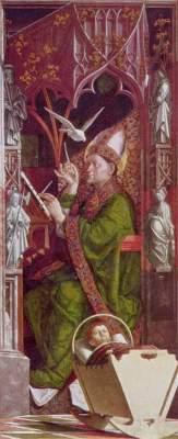 Kirchenväteraltar, rechter Flügel innen: Hl. Ambrosius Alte Pinakothek
