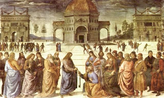 Christus übergibt Petrus die Schlüssel zum Himmelreich Vatikan, Musei Vaticani, Cappella Sistina