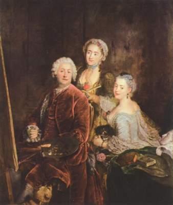 Bildnis des Malers mit seinen zwei Töchtern vor der Stafelei Gemäldegalerie