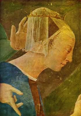 Die Königin Saba betet vor dem Kreuzesholz (Ausschnitt) San Francesco