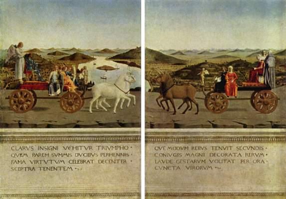 Diptychon, Rückseite: Triumphzug des Herzogspaares Galleria degli Uffizi