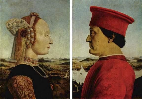 Diptychon, Vorderseite: Federigo di Montefeltro und seine Gemahlin Battista Sforza Galleria degli Uffizi