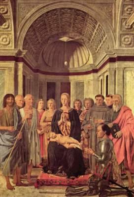 Thronende Madonna mit Heiligen und Federigo da Montefeltro Brera