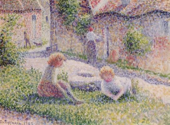 Kinder auf einem Bauernhof Slg. Ginette Signac