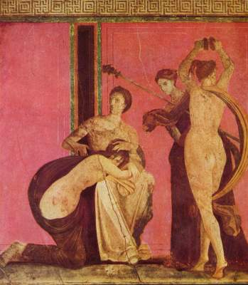 Dionysischer Fries mit gegeißeltem Mädchen und Bacchantin (Pompejanische Wandmalerei des '2. Stils/ Ausschnitt) Villa dei Misteri