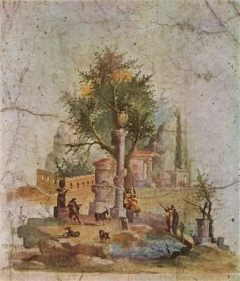 Landschaft mit dem heiligen Baum (aus der Villa von Boscotrecase bei Pompeji) Galleria Nazionale di Capodimonte
