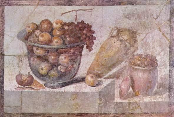 Stilleben mit Früchtekorb und Vasen (aus dem Hause der Julia Felix in Pompeji) Galleria Nazionale di Capodimonte